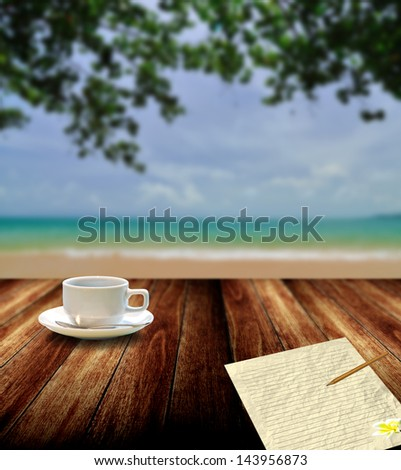Relax with coffee and write letter, Vacation concept