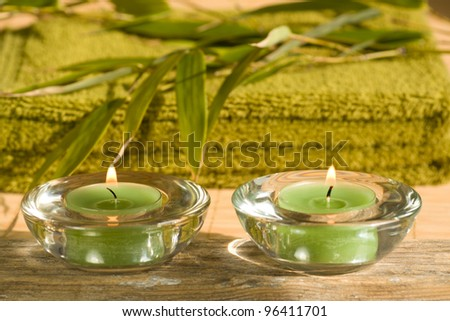 Relaxation and wellness objects including aromatic candles