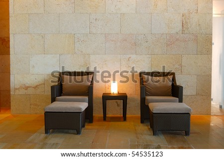 Relaxation chairs at modern spa crete greece stock photo 54535123