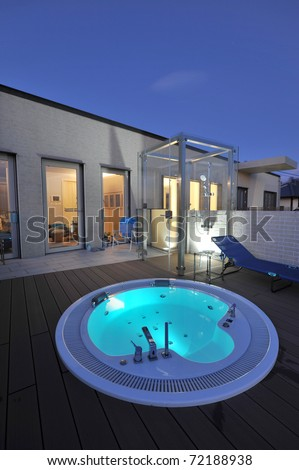 relaxation in luxury bubble bath at night on blue-2