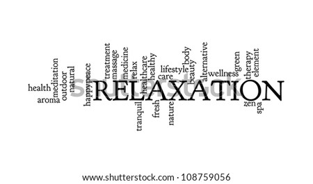 Relaxation info-text graphics and arrangement concept on white background