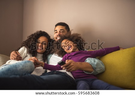 relaxed african american family ...