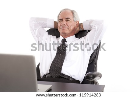 Relaxed Businessman looking at his computer