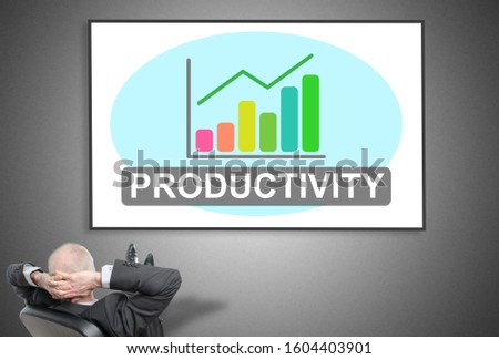 Relaxed businessman looking at productivity concept on a whiteboard