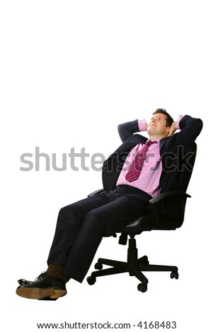 Relaxed businessman sitting in his office chair, leaning back slightly with both palms supporting head,isolated.