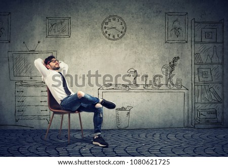Relaxed entreprenur young hipster man sitting in his office  #1080621725