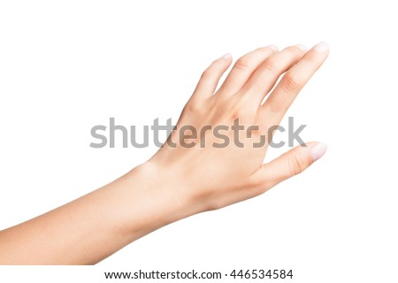 Relaxed left female palm with neutral manicure isolated on white background