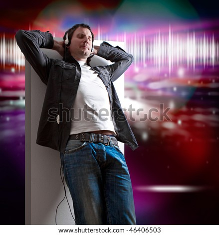 relaxed man listening to good music