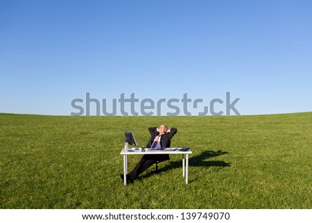 Relaxed mature businessman with hands behind head on field