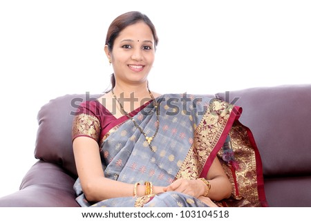 Relaxed traditional Indian woman