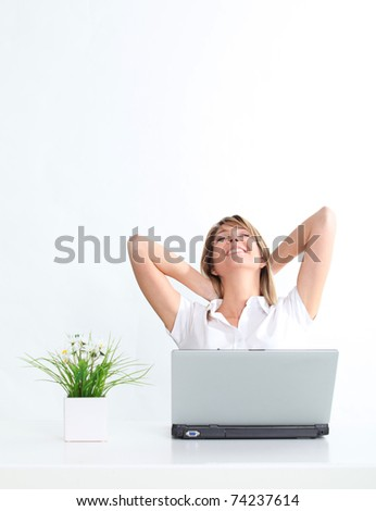 Relaxed woman and cool business