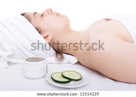 Relaxed woman during a beauty treatment