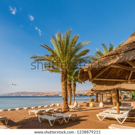 Relaxing  atmosphere on central public beach of Eilat - famous tourist resort  and recreational city in Israel. Concept of healthy vacation