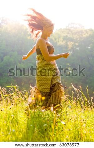 Relaxing female enjoying summer day