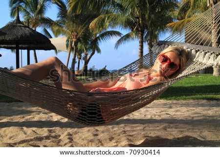 Relaxing in a hammock in paradise