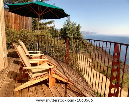 Relaxing in Big Sur, California at an upscale resort overlooking the Pacific Ocean
