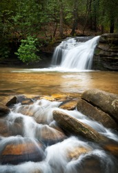Relaxing Mountain Waterfall w/ Silky Smooth Flowing Water in Blue Ridge Mountains