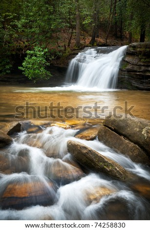 Relaxing Mountain Waterfall w/ Silky Smooth Flowing Water in Blue Ridge Mountains - stock photo