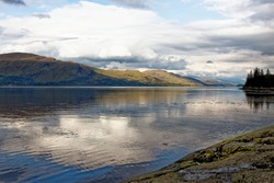 Relaxing picnic area at Loch Linnhe in the highlands on a autumn day - west coast Scotland - travel destination - Fort William, Highland Region, Scotland, United Kingdom - 15th of September, 2020