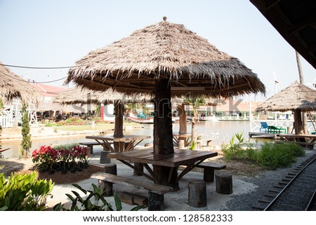 Relaxing. Roof made �¢??�¢??of dried leaves. Chairs and tables are made of wood.
