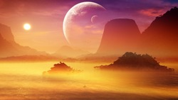 Relaxing scenery of a unique tropical distant planet landscape with mountains and huge moon on the horizon during soft sunset at the evening