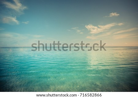 Relaxing seascape with wide horizon of the sky and the sea. Vintage color effect #716582866