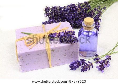 Relaxing spa resort composition - bath soap, lavender flower