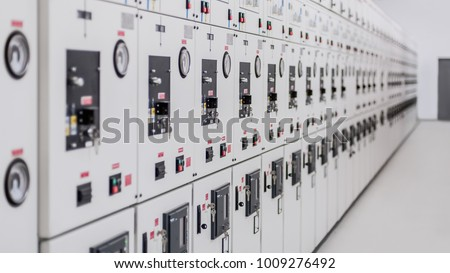 Relay protection system. Bay control unit. Medium voltage switchgear. Close up