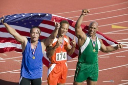 Relay team with American flag and medals