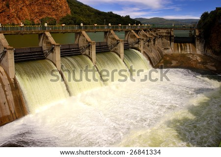 Release of water at a dam wall. #26841334