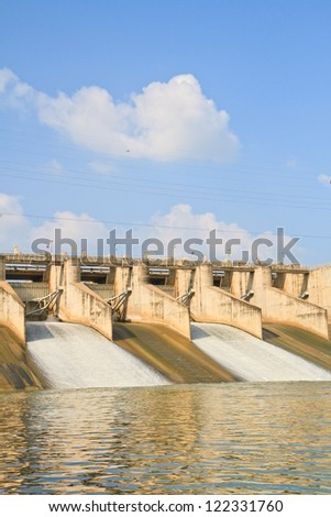Release of water at a PASAK Dam wall. in Thailand