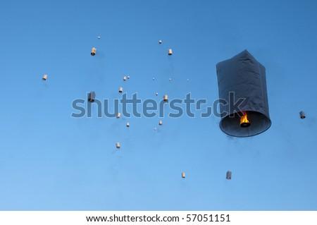 Releasing hot air lanterns of luck
