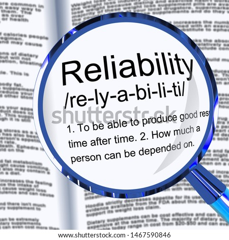 Reliability concept icon means dependability confidence and certainty. Trustworthy products with a reliable reputation - 3d illustration Foto d'archivio ©
