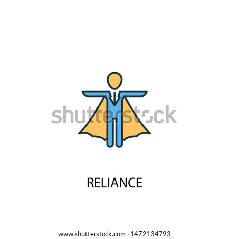 reliance concept 2 colored line icon. Simple yellow and blue element illustration. reliance concept outline symbol design