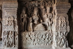 Relief carvings at Kailasa or Kailash Temple at the Ellora Caves in Maharashtra, India. Kailash Temple was built in the 8-th century.
