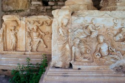 relief in open-air theater of ancient city Nysa, Aydin, Turkey.
