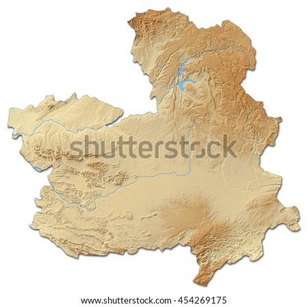 La Mancha Spain Map.Relief Map Castile La Mancha Spain 3d Rendering Ez Canvas