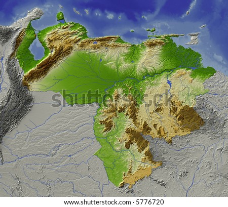 map of venezuela coast. stock photo : Relief map of Venezuela. Shows major cities and rivers,