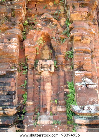 Relief of Hindu Temples at My Son in Vietnam - A UNESCO World Heritage Site - stock photo