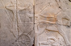 Relief of Hittite chariot and drivers from the Late Hittite Period (Aramaean). 9th century B.C.
