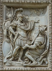 Relief of Marcus Vipsanius Agrippa viewing plans for construction of Acqua Vergine aqueduct at Trevi fountain in Rome, Italy