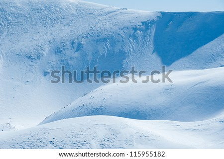 relief of snowy mountains