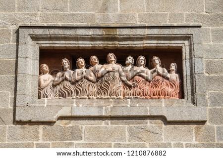 Photo of  Relief of the souls of purgatory. Facade of the Chapel of Las Animas. Santiago de Compostela, Galicia.