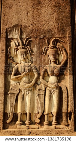 Angkor wat in siem reap cambodia stone faces carved in the