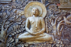 relief sculpture on the wall of a Buddhist temple in Colombo Sri Lanka island