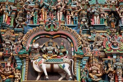 Relief works of the mythological characters in the famous Meenakshi temple in Madurai, Tamil Nadu, India