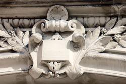 Reliefs, symbols, statues, architectural decorations of ancient buildings. Paris