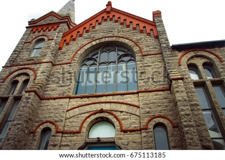 Religion background. Religion symbol. Religious cross background. A view of the exterior of Ancient Cathedral in the historic city of Isle of Man. religion of peace. true religion freedom concept