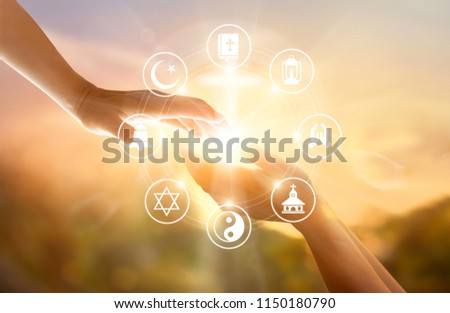 Religion concept. Human hands together forgives and blesses. Praying and religions icon on sky sunset background #1150180790