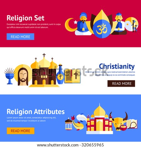 Religion horizontal banner set with christianity and other religious attributes isolated  illustration